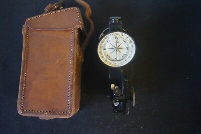 Rare Vintage Marine Nautical Sundial COMPASS In Original Leather case With Level