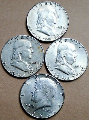 LOT: 4 SILVER HALF DOLLARS: 1952, '61-D, '63-D & 1964, nice coins ~ FREE SHIP