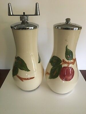 Franciscan Earthenware Hand Painted Apple Salt Shaker and Pepper Mill