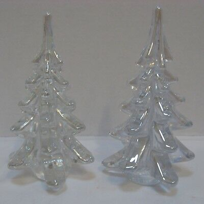 Two Clear Glass Christmas Trees