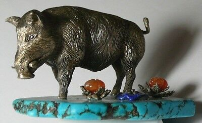 Boar Hog Faberge Imperial Russian 84 Silver Diamond Turquoise S.Peterburg 1887