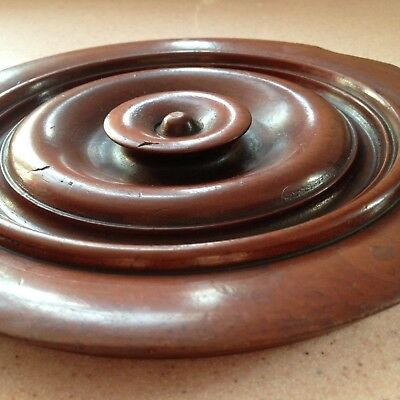 Antique Turned Wood Lid Pot Cover Mahogany Vintage Old Reclaimed.