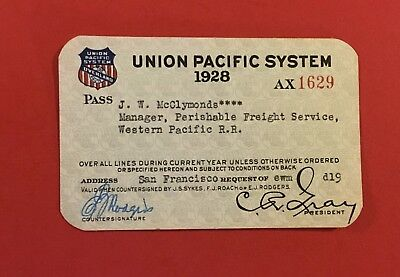 Union Pacific System UP RR 1928 Annual Pass for WP RR Employee