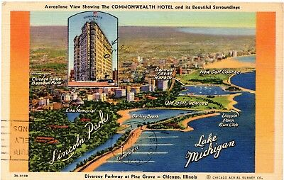 Tough to Find Chicago Cubs Baseball Park Commonwealth Hotel / Stadium Postcard