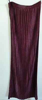 Burgundy Pleated Long Skirt Made In Usa By Jeanne Marc Sz 4-6