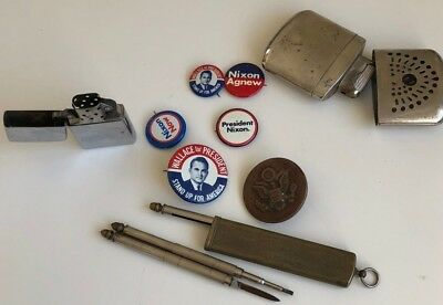 LOT OF 9 COLLECTIBLE ITEMS Nixon AGNEW campaign pins ZIPPO LIGHTER ANTIQUE