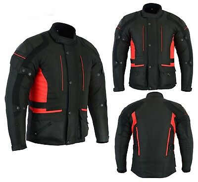 Mens Motorbike Motorcycle Long Jacket D-Dry Textile Waterproof Duratex Black Red
