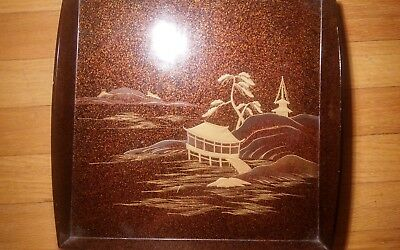 Cashew lacquer tray with pagoda and house makie tea caddy