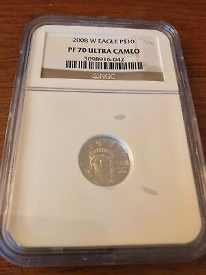 2008 W NGC PF70 UCAM $10 American PLATINUM Eagle PROOF 1/10th oz Brown insert