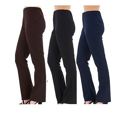 New Ladies Pull On Ponte Bootleg Elasticated Women Trousers Plus Sizes 10-24