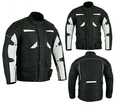 Mens Motorbike Motorcycle Long Jacket DDry Textile Waterproof Duratex Black Grey
