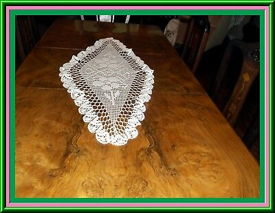 Fabulous White Hand Crocheted Table Runner Or Bureau Scarf Pristine