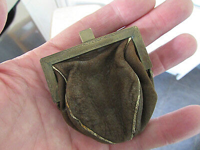 Antique Suede Leather & Brass Small Purse or Pouch - Artisan Style -Steam Punk??
