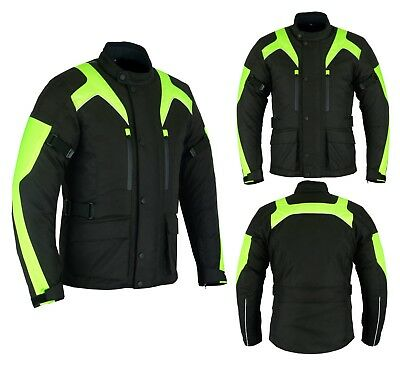 Mens Motorbike Motorcycle Long Jacket DDry Textile Waterproof Duratex Black HViz