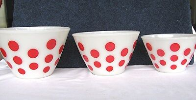 Set Of 3 Fire-King Fifties Nesting / Mixing Bowls White With Red Polka Dots