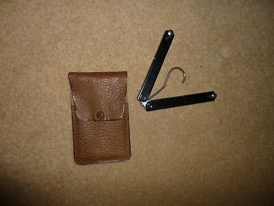 VINTAGE Folding Travel Coathanger in leather pouch