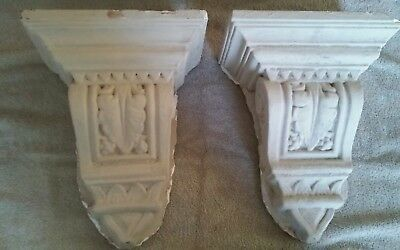 PAIR OF 1920s ORNATE ANTIQUE PLASTER CORBELS ARCHITECTURAL SALVAGE