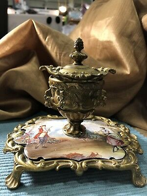 Antique French Porcelain Lidded Ink Well