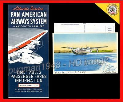 PAN AMERICAN AIRWAYS 1940 AIRLINE TIMETABLE SCHEDULE..Yankee Clipper Flying Boat