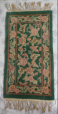 Vintage Antique Hand Tied Knotted Wool Rug Worn Floral 2'x4' Pink Green Old