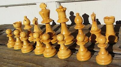 """Fine Antique Vintage Chess Set Carved Wood Pieces Chessmen 3.5"""" King French?"""