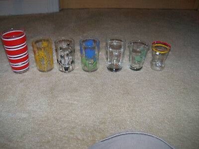 Lot of 7 Vintage Small Juice GLASSES Floral , Lines, Retro, Camel