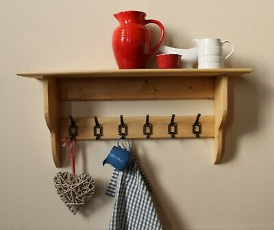 Shelf with coat rack hooks solid wood natural pine or painted 16 colours