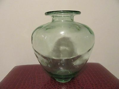 LARGE Green Tinted GLASS VASE