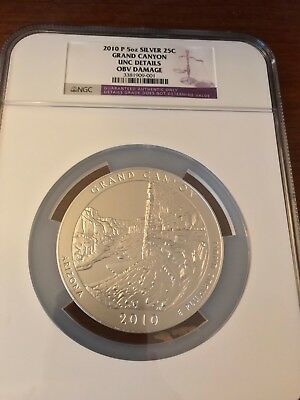 2010 P Grand Canyon 5 oz SILVER America the Beautiful Quarter Coin NGC OBV Damag