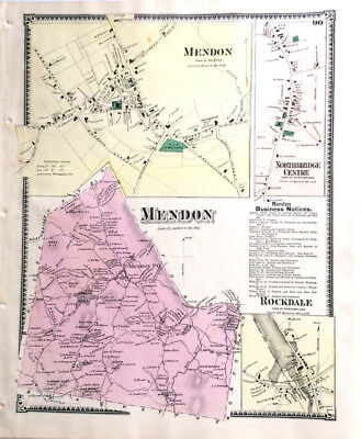 Map 1870 Mendon Rockdale Massachusett Original 1870 Antique Color Beers Ancestry