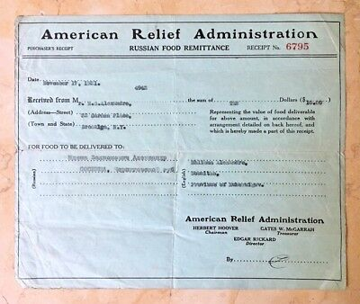 Russian Food Remittence Receipt #6795 American Relief Administration