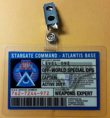 Stargate Command Atlantis ID Badge-Off-World Special Ops Weapons Expert Captain