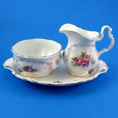 3 Piece Royal Albert Tranquility Creamer, Sugar and Regal Tray