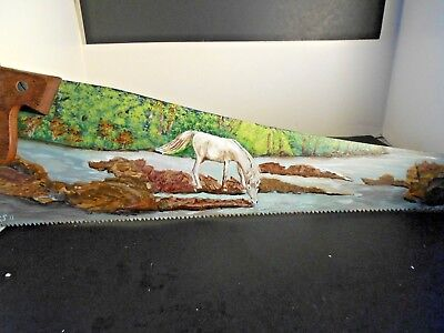 Hand Painted Winter Scene horse drinking in Stream, Metal Hand Saw Blade Signed