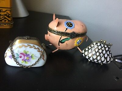 LIMOGES SIGNED Hand-painted in France Rochard Purse and 2 others Trinket Boxes