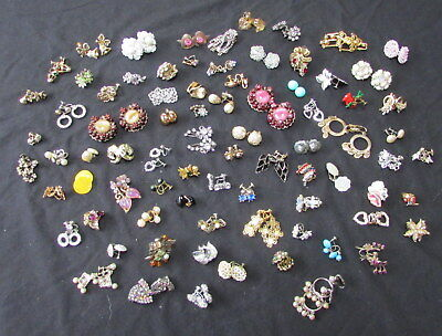 Vintage Lot Of 81 Pairs Of Costume Clip On Earrings From Hoarder Estate