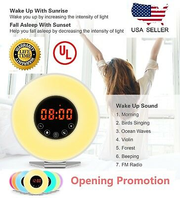 Wake Up Alarm Clock Digital LED 6 Color Switch Radio Sunrise Light