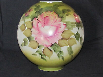 """Antique Vtg Satin Glass Lamp Globe Shade Hand Painted Victorian Roses 10"""" High"""