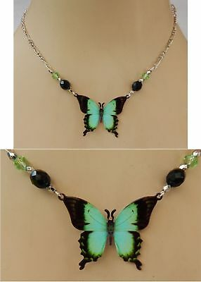 Butterfly Necklace Pendant Handmade NEW Adjustable Green Silver Fashion Black