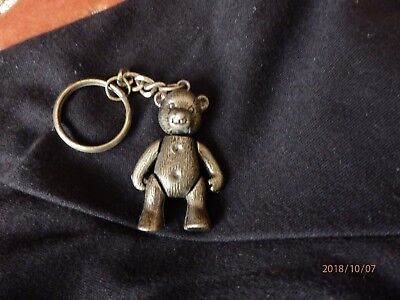 Teddy Bear keyring Bronze metal 5cm jointed new condition