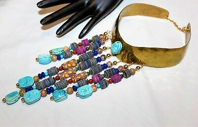 Vintage Egyptian Revival Scarab Turquoise Beads Collar Waterfall Necklace NM1