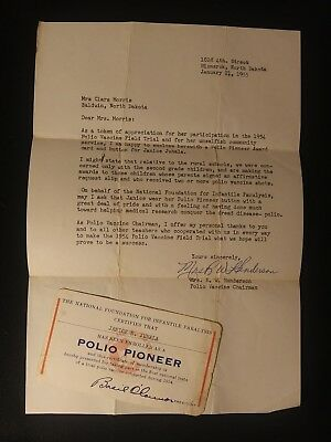 Polio Pioneer Membership Card and Letter Vintage Dated 11-6-1954