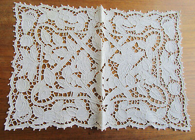 7 Vintage Pierced and Embroiderd Placemats Birds and Leaves