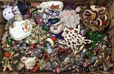 Huge Vintage-Now CHRISTMAS Holiday Jewelry Lot Estate UNSEARCHED UNTESTED X1