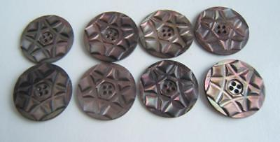 """8 Vintage Carved Mother Of Pearl Mop Shell Buttons 1 1/4"""" Wide"""