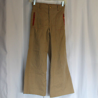 Vintage 70s Size 12 ROUGH HOUSER by Sears Tan Bell Pants, Red Stitch, Zip Pocket