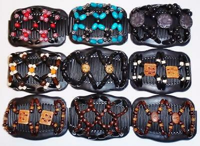 """Double Magic Hair Combs, Angel Wings Clips 4x3.5"""", African Butterfly, BLACK S77"""
