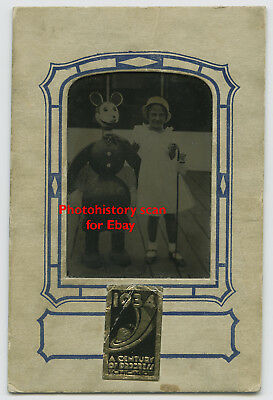 1934 Chicago Worlds Fair Souvenir Photo Girl with Horrific Looking Mickey Mouse
