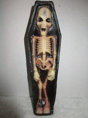 Vintage Gurley Candle Skeleton in Coffin Holiday Decorations