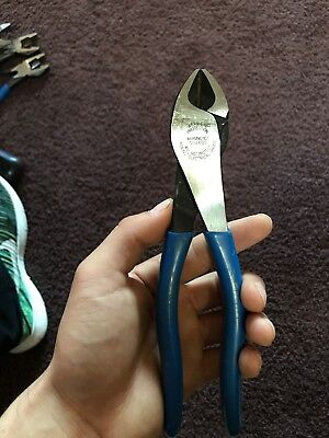 """Klein Tools D2000-48 8"""" High-Leverage Diagonal-Cutting Pliers - Angled Head"""